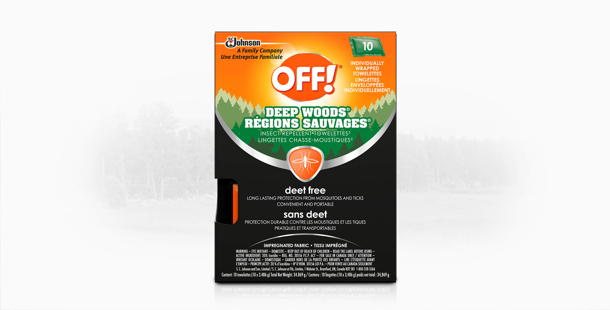 OFF!® Deep Woods® Wipes - Deet Free